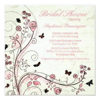 La ducha nupcial de los remolinos florales invitación 13,3 cm x 13,3cm
