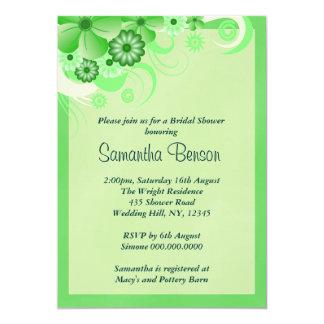 La ducha nupcial del boda floral verde del hibisco invitación 12,7 x 17,8 cm