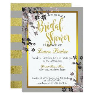 La ducha nupcial del brillo floral del oro adorna invitación 12,7 x 17,8 cm