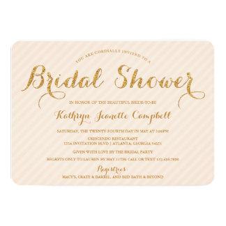 La ducha nupcial del brillo glamoroso del oro invitación 12,7 x 17,8 cm