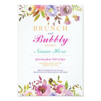 La ducha nupcial del brunch y de la burbuja floral invitación 12,7 x 17,8 cm