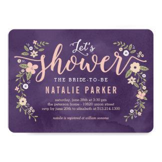 La ducha nupcial del color Editable floral de la Invitación 12,7 X 17,8 Cm