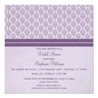 La ducha nupcial del damasco dramático violeta invitación 13,3 cm x 13,3cm