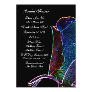 La ducha nupcial del negro eléctrico del capullo invitación 12,7 x 17,8 cm