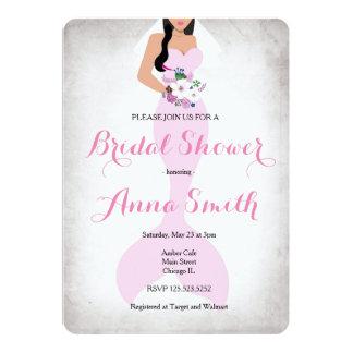 La ducha nupcial del vintage rosado de la sirena invitación 12,7 x 17,8 cm