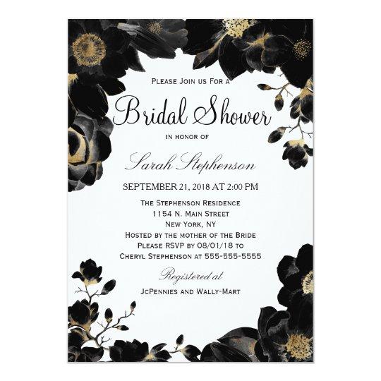La ducha nupcial floral negra acentuada de oro invitación 12,7 x 17,8 cm