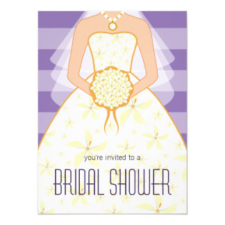 La ducha nupcial moderna del vestido de boda de la invitación 13,9 x 19,0 cm