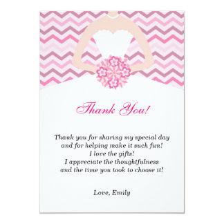 La ducha nupcial rosada de Chevron le agradece Invitación 12,7 X 17,8 Cm