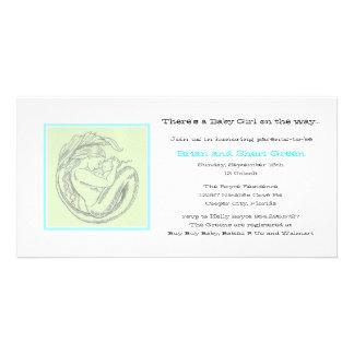 La ducha verde del BB de la sirena invita Tarjetas Con Fotos Personalizadas