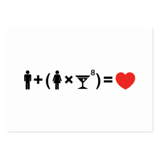 La ecuación del amor para las mujeres tarjetas de visita grandes