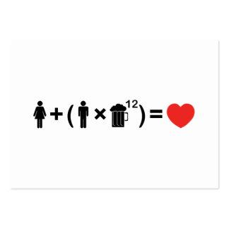 La ecuación del amor para los hombres tarjetas de visita grandes