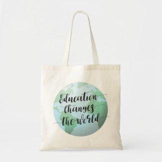 La educación cambia la cita del mundo con el globo bolso de tela