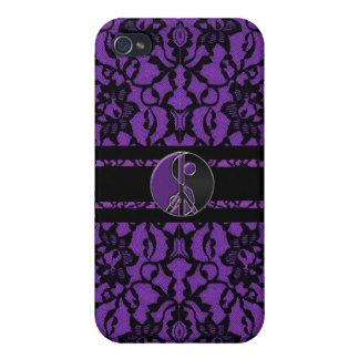 La elegancia del cordón púrpura y negro iPhone 4 cárcasa