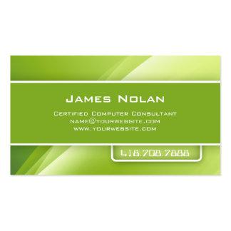 La empresa informática carda rayos abstractos verd tarjetas de negocios