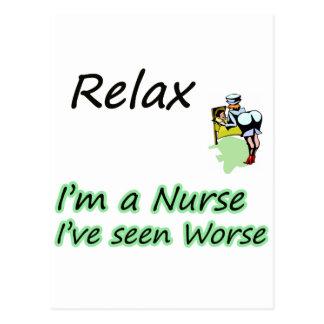 "La enfermera dice que ""relájese "" postal"