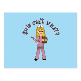 La enfermera en rosa friega (el Blonde) Postal