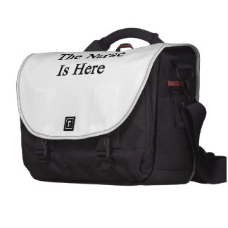 La enfermera está aquí bolsas de ordenador