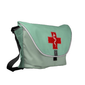 La enfermera Rod de Asclepius friega verde Bolsa Messenger