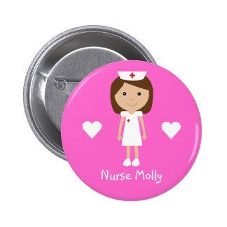 La enfermera y los corazones lindos del dibujo ani chapa redonda de 5 cm