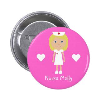 La enfermera y los corazones lindos del dibujo chapa redonda de 5 cm