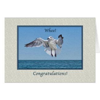 La enhorabuena carda con la gaviota de risa tarjeta de felicitación