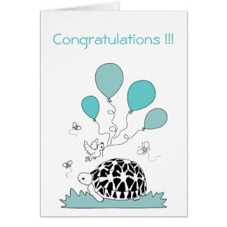 La enhorabuena carda (los globos azules de la tarjeta de felicitación