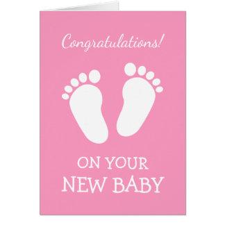 La enhorabuena carda para la nueva hija de la niña tarjeta de felicitación
