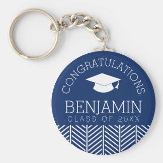 La enhorabuena gradúa - la graduación llavero redondo tipo chapa