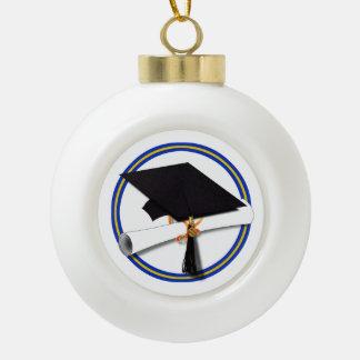 La escuela colorea el casquillo w/Diploma del Adorno