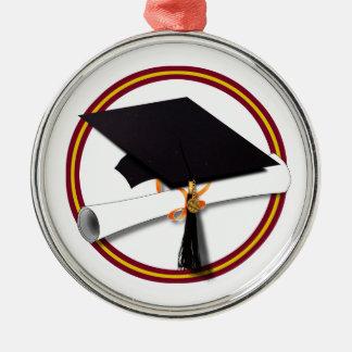 La escuela colorea el rojo y el casquillo w/Diplom Ornamento De Navidad