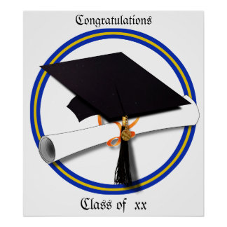 La escuela de la graduación colorea el azul y el póster