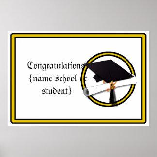 La escuela de la graduación colorea el oro y el póster
