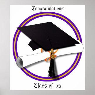 La escuela de la graduación colorea púrpura y el póster