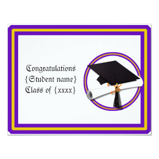 La escuela del diploma del graduado colorea invitación 10,8 x 13,9 cm