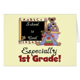 La escuela es especialmente 1r grado fresco tarjeta de felicitación
