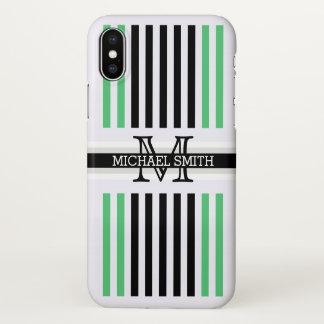 La esmeralda negra moderna del monograma raya el funda para iPhone x