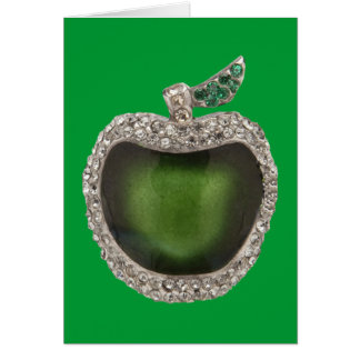 La esmeralda y los diamantes Jeweled Apple Tarjeta De Felicitación