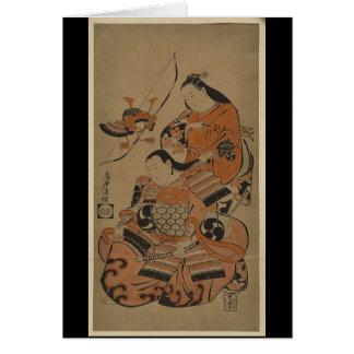 La esposa de un samurai lo prepara para la batalla tarjeta de felicitación