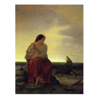 La esposa del pescador que está de luto en la play postal
