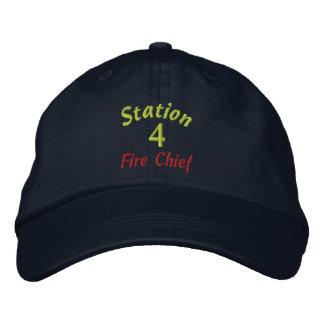 La estación, 4, fuego Jefe-Bordó el gorra Gorras Bordadas