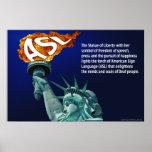 La estatua de la libertad enciende su antorcha par posters