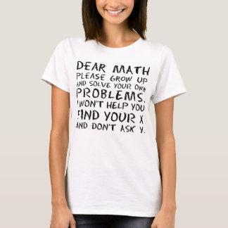 La estimada matemáticas divertida crece por favor camiseta