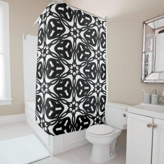 La estrella blanco y negro forma escamas cortina zazzle - Cortinas en blanco y negro ...
