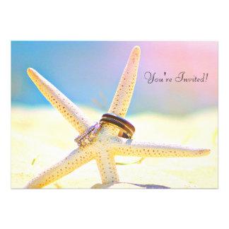 La estrella de mar suena invitaciones del boda del comunicados personalizados