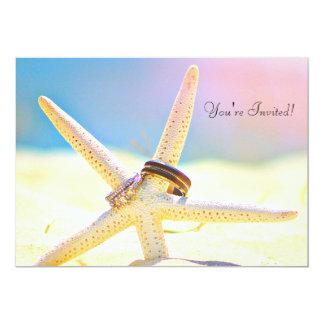 La estrella de mar suena invitaciones del boda del invitación 12,7 x 17,8 cm