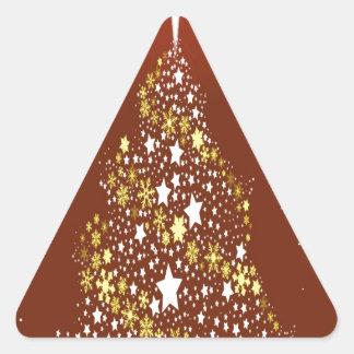 La estrella roja Spangled el árbol de navidad Pegatina Triangular