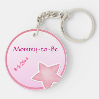 La estrella rosada adorable, Mamá-a-Es fiesta de Llavero Redondo Acrílico A Doble Cara