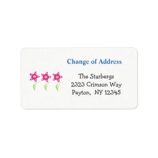 La estrella rosada florece la dirección de etiquetas de dirección