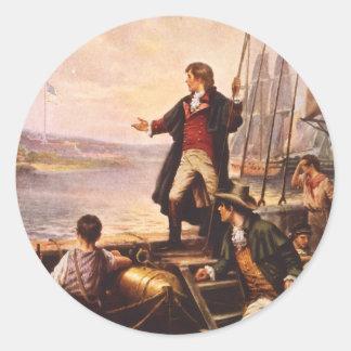 La estrella Spangled la bandera de Percy Moran Pegatina Redonda