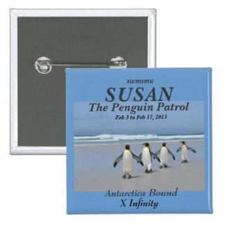 La etiqueta del nombre de la patrulla del pingüino chapa cuadrada 5 cm
